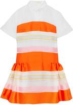 DELPOZO Cotton-organza And Striped Satin Mini Dress - Orange