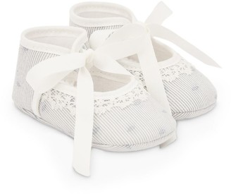 Paz Rodriguez Lace-Trim Striped Dobby Shoes