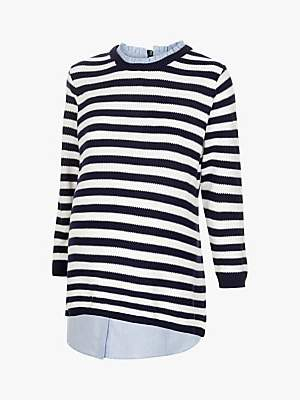 Séraphine Janice Stripe Maternity and Nursing Jumper, Nautical Blue