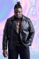 boohoo Mens Black Big And Tall Leather Look Biker Jacket, Black