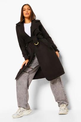 boohoo Buckle Detail Belted Wool Look Coat