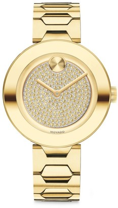 Movado BOLD T-Bar Light Gold Ion-Plated Stainless Steel & Crystal Dial Bracelet Watch