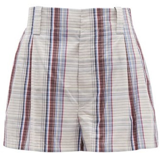 Marni Checked Cotton-poplin Shorts - Womens - Blue Multi