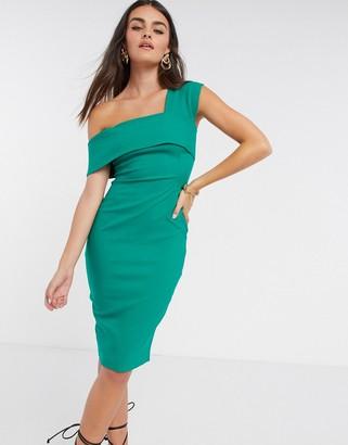 Vesper fallen shoulder fitted midi dress in green