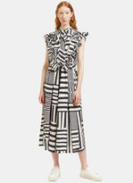 Preen Women's Willa Long Ruffled Grid Dress in Black and White