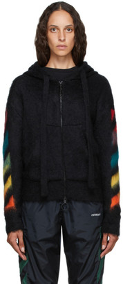 Off-White Black Brushed Mohair Diag Zip-Up Hoodie