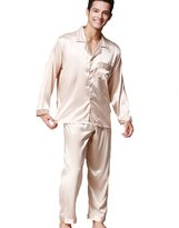P&W WP Men's Solid Satin Long Sleeve Button-Down Pajama Set with Pocket (XL, )