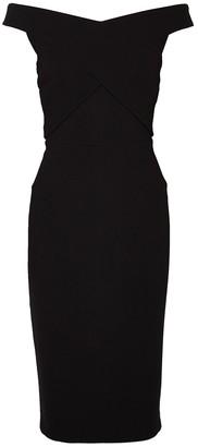 Roland Mouret Amarula Black Off-the-shoulder Midi Dress