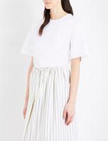 Jil Sander Frayed-detail cotton-poplin T-shirt