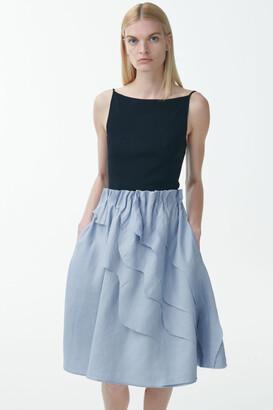 Cos Linen-Mix Diagonal Ruffle Skirt