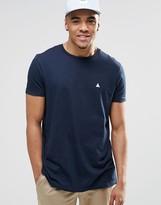 Asos Longline Logo T-Shirt With Crew Neck In Navy