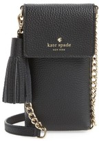 Kate Spade North/south Leather Smartphone Crossbody Bag - Black
