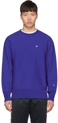 Champion Reverse Weave Blue Logo Sweatshirt