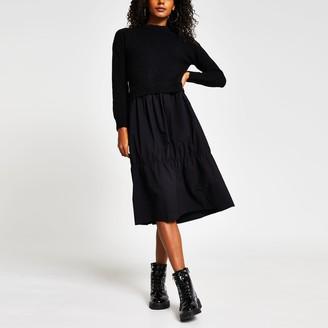 River Island Womens Black Hybrid jumper Smock dress