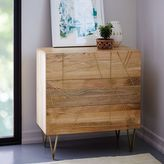 west elm Roar + Rabbit Brass Geo Inlay 3-Drawer Dresser - Raw Mango