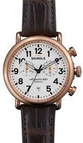 Shinola 41mm Runwell Chronograph Watch with Alligator Strap, Dark Brown
