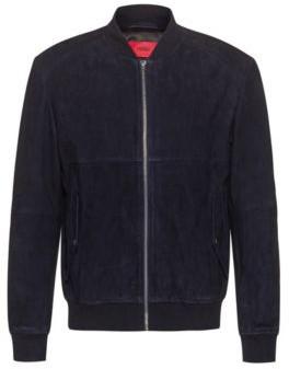 HUGO BOSS Slim Fit Bomber Jacket In Goat Suede - Dark Blue