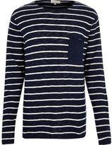 River Island MensNavy stripe pocket long sleeve T-shirt