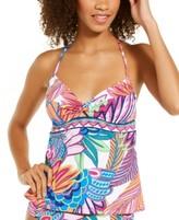 Women's Plus Size Blouson Halter Tankini Top Sea Angel Leaf Black