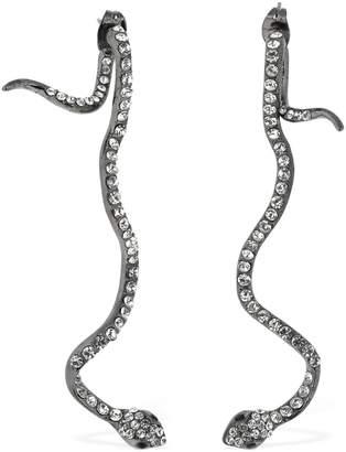FEDERICA TOSI Long Snake Brass & Crystal Earrings