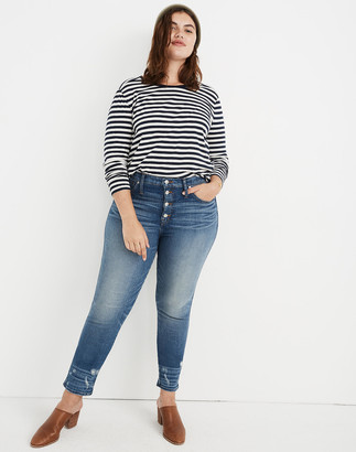 Madewell Petite Slim Straight Jeans: Distressed Button-Front Edition