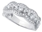 Crislu Vine & Lacey Collection Platinum Over Silver Cz Ring.