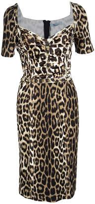 Blumarine Leopard Printed Knit Rockstud Embellished Sheath Dress S