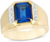 Zales Men's Octagonal Lab-Created Blue Sapphire and Diamond Accent Ring in 10K Gold