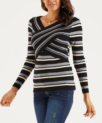 Suzanne Betro Weekend Women's Pullover Sweaters 101BLACK/GREY/IVORY - Black & Gray Stripe Cross-Strap Sweater - Women & Plus