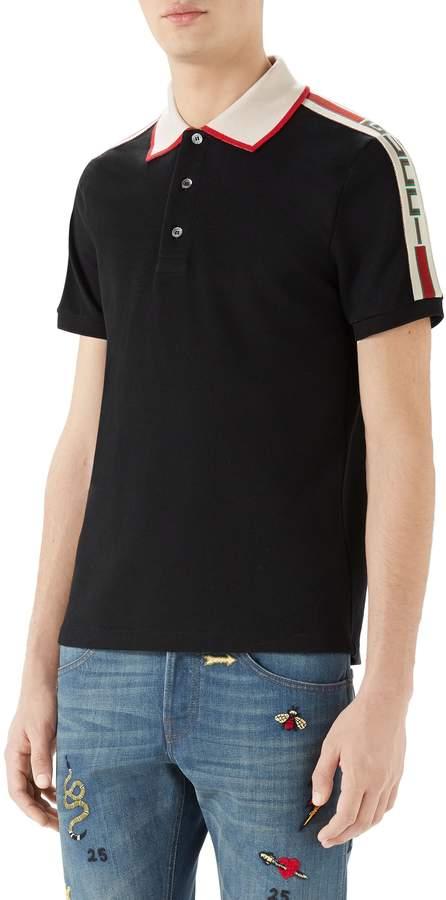 Gucci Jacquard Stripe Sleeve Pique Polo