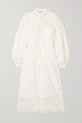 Temperley London Judy Broderie Anglaise Poplin Midi Dress - White