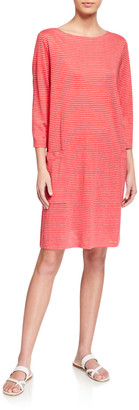 Eileen Fisher Organic Linen Mini Stripe T-Shirt Dress
