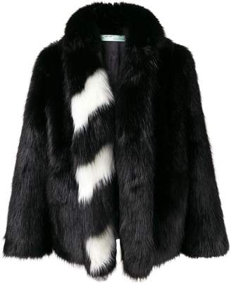 Off-White striped collar fur jacket