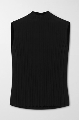 Vince Ribbed Crepe Turtleneck Tank - Black