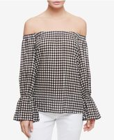 Sanctuary Gingham Off-The-Shoulder Top