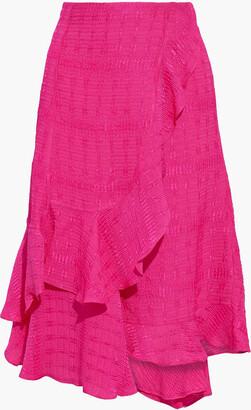 Victoria Beckham Wrap-effect Ruffled Cloque Skirt