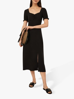 Warehouse Sweetheart Neckline Midi Dress, Black