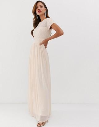 Little Mistress cap sleeve waist detail maxi dress-Pink