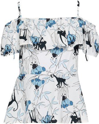 Markus Lupfer Cold-shoulder Ruffled Printed Cotton-poplin Peplum Top