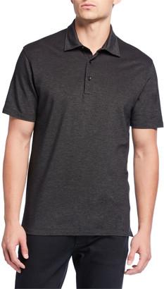 Ermenegildo Zegna Men's Pique Polo Shirt, Black