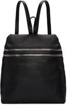 Kara Black Large Double Zip Leather Backpack