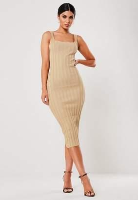 Missguided Sand Extreme Rib Knit Midaxi Dress