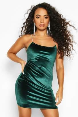 boohoo Petite Diamante Strap Velvet Mini Dress
