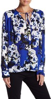 Parker V-Neck Front Tie Long Sleeve Print Blouse