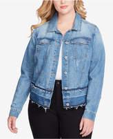 Jessica Simpson Trendy Plus Size Pixie Cotton Denim Jacket