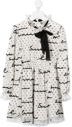 Ermanno Scervino Bow-Neck Logo Lace Dress
