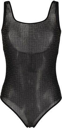 Balmain Motif-Print Scoop-Back Body