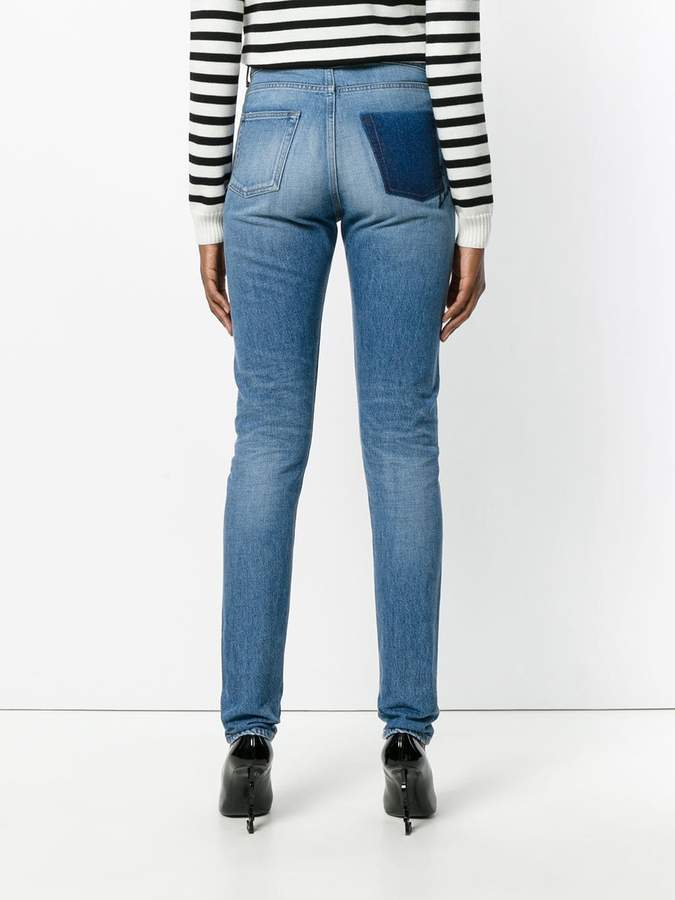 Saint Laurent mid rise slim fit shadow pocket jeans