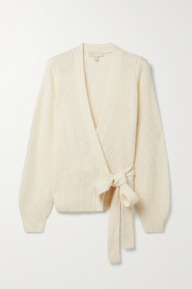MICHAEL Michael Kors Ribbed-knit Wrap Cardigan - Cream