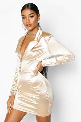 boohoo Stretch Satin Hook & Eye Blazer Dress